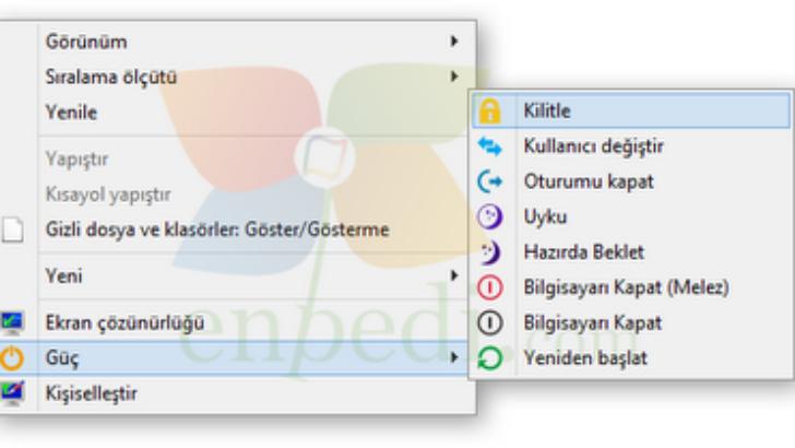 Windows 8 Güç Menüsü Ekleyin (Windows sağ tık menüsüne güç seçenekleri ekle)