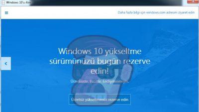 Windows 10 Yükseltme ve Rezervasyon
