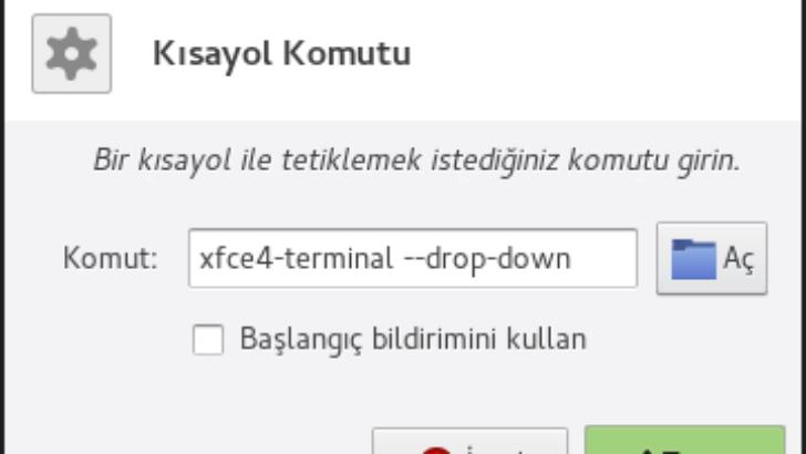 Manjaro Xfce üzerinde üstten açılan uçbirim ekleme ve kısayol tuşu atama (drop down terminal)