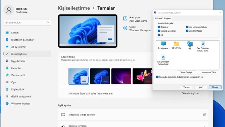 Windows 11 masaüstü simgeleri nasıl getirilir?